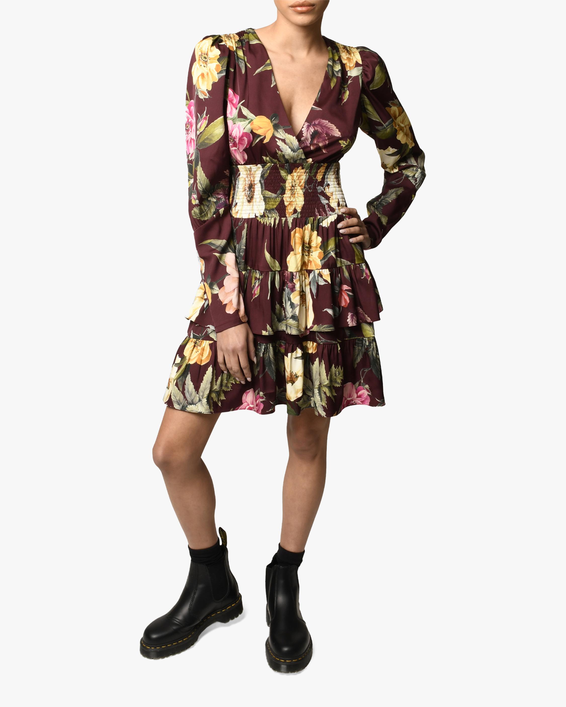 Nicole Miller Venus Floral Tiered Silk-Blend Dress 0