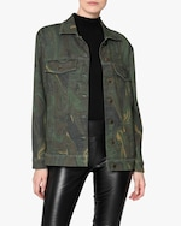 Nicole Miller Camo Swirl Oversized Denim Jacket 0