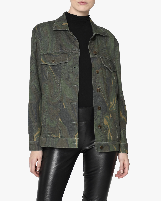Camo Swirl Oversized Denim Jacket
