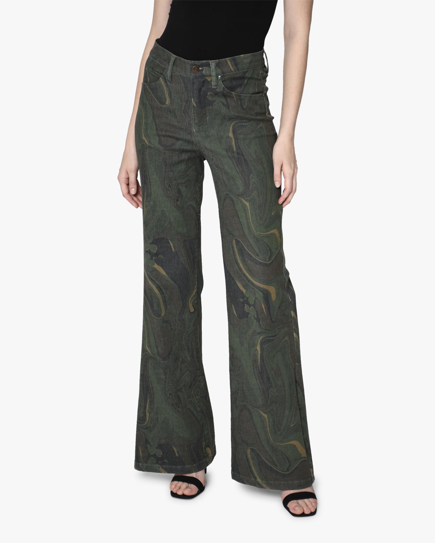 Nicole Miller Camo Swirl Wide-Leg Jeans 0
