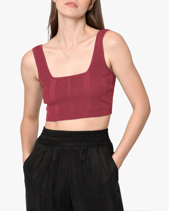 Nicole Miller Ribbed Knit Bra Top 0