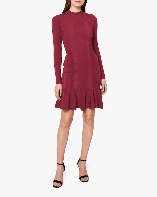 Nicole Miller Ribbed Knit Fit & Flare Dress 0