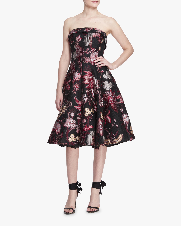 Marchesa Notte Strapless Floral Tea Length Gown 1