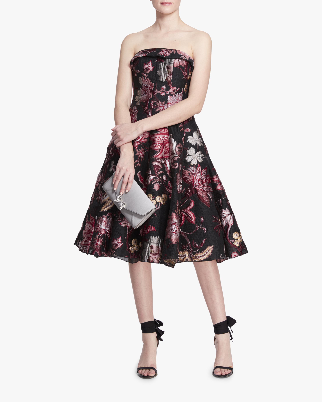 Marchesa Notte Strapless Floral Tea Length Gown 2