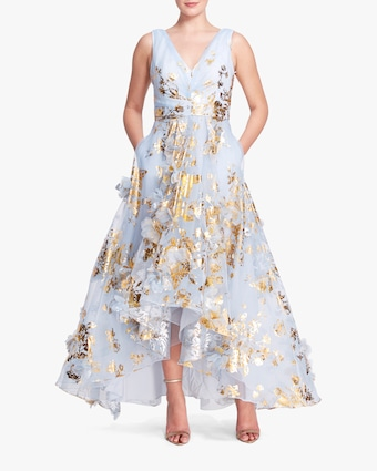 Marchesa Notte V-Neck Foiled Organza High-Low Gown 1