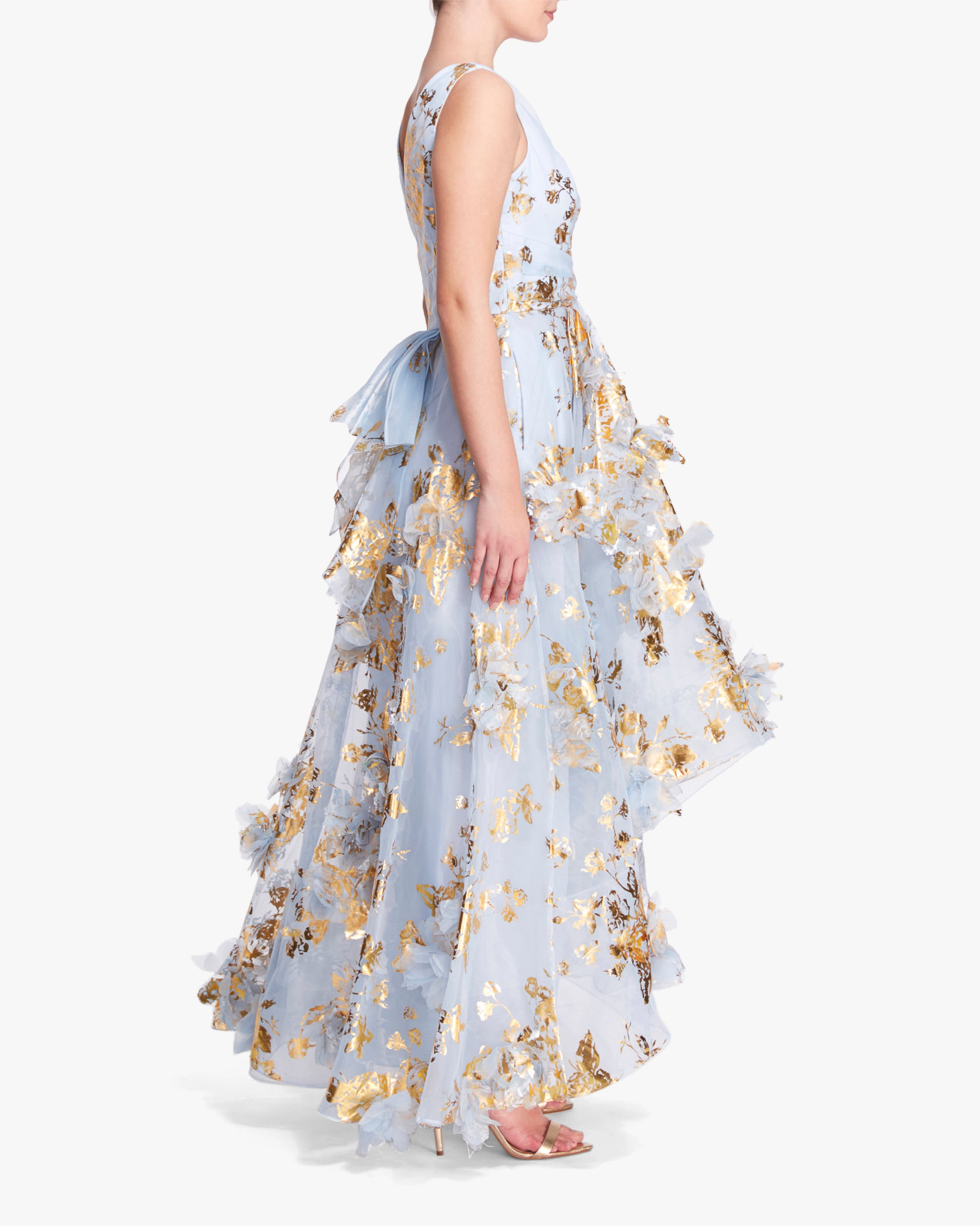 Marchesa Notte V-Neck Foiled Organza High-Low Gown 2