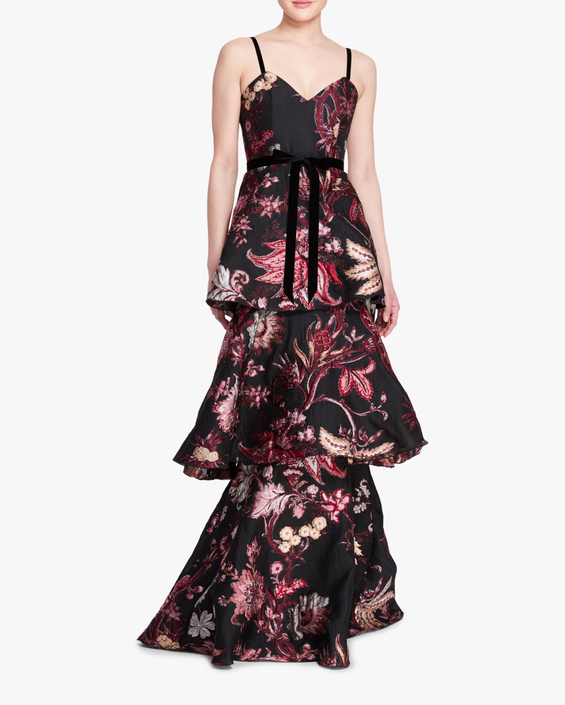Marchesa Notte 3- Tiered Sleeveless Velvet Gown 1