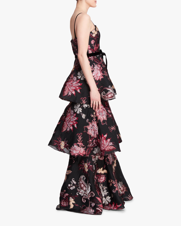 Marchesa Notte 3- Tiered Sleeveless Velvet Gown 2