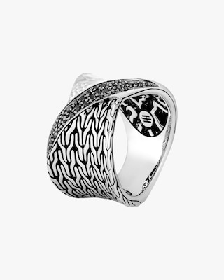 John Hardy Classic Chain Twisted Black Spinel Ring 1