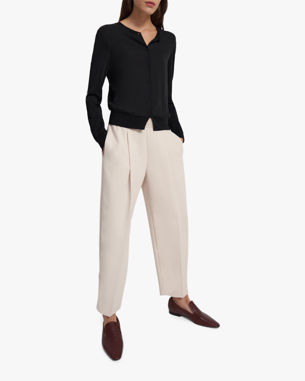 Shrunken Silk-Front Cardigan