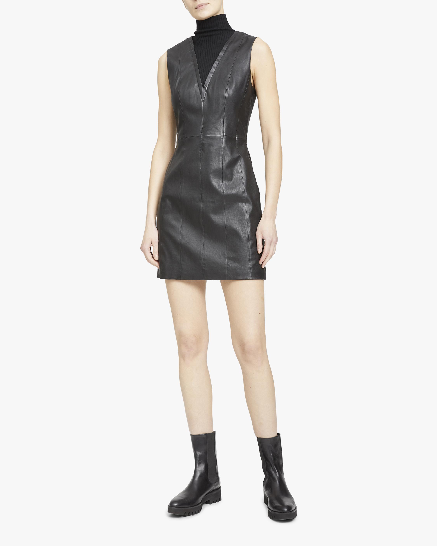 Theory Ribbed V-Neck Leather Mini Dress 1