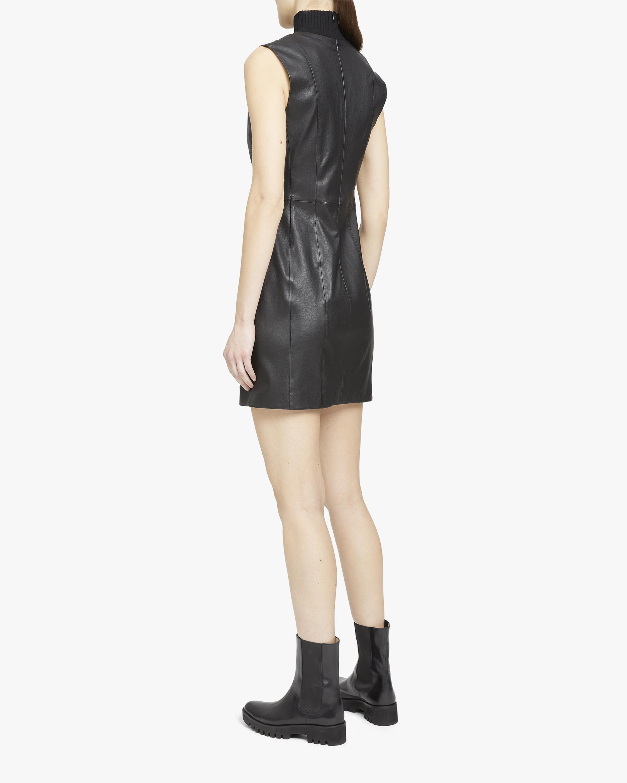Theory Ribbed V-Neck Leather Mini Dress 2