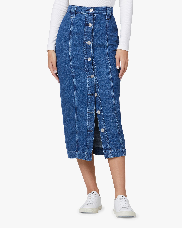 Hudson Button-Front Denim Pencil Skirt 0