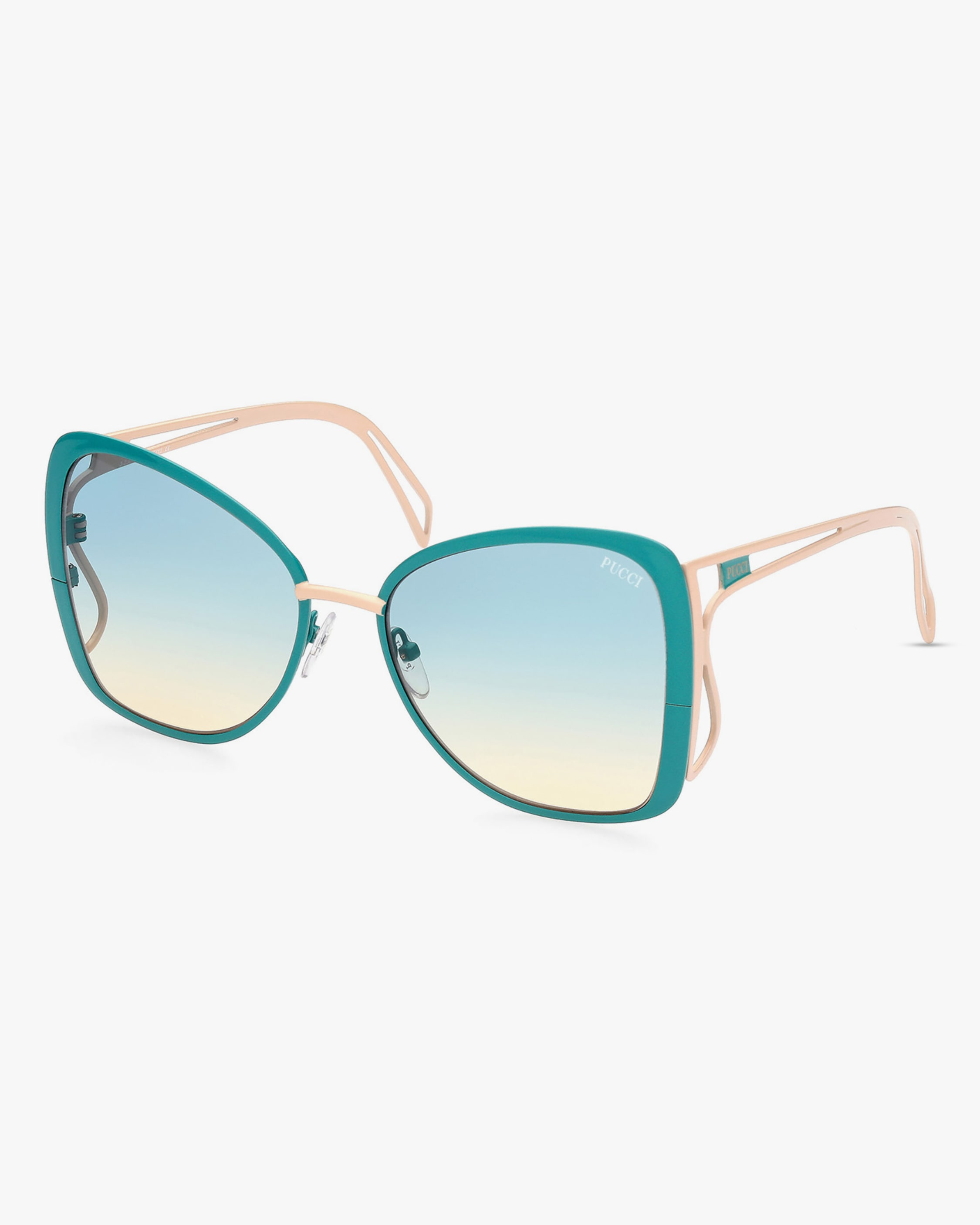 Emilio Pucci Turquoise Butterfly Metal Sunglasses 2