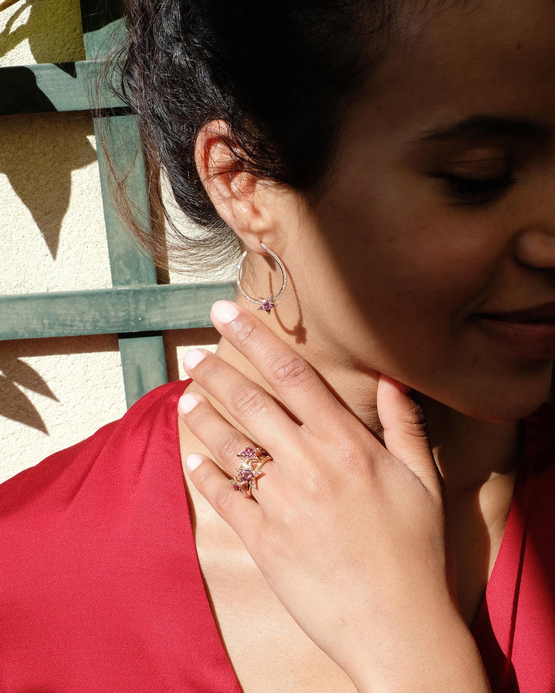 Selim Mouzannar Diamond & Rhodolite Star Loop Earrings 1