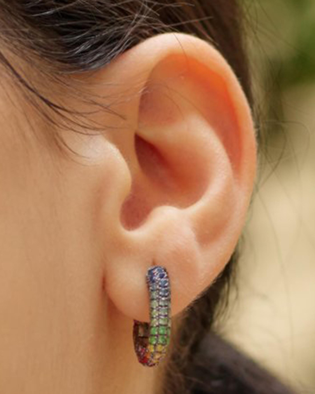 Selim Mouzannar Sapphire & Tsavorite Rainbow Earrings 1
