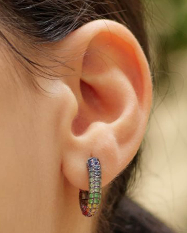 Selim Mouzannar Sapphire & Tsavorite Rainbow Earrings 2