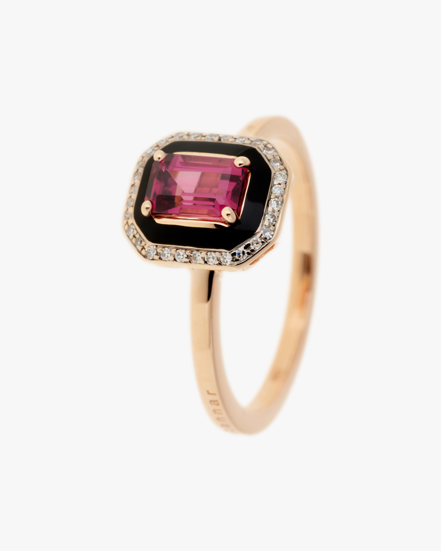 Selim Mouzannar Diamond & Rhodolite Square Ring 0