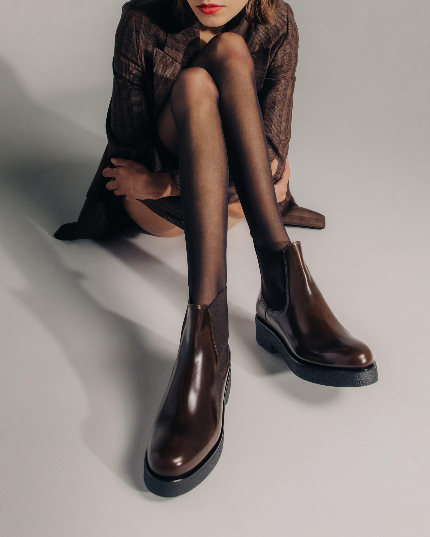 KOIO Glossed Walnut Novara Leather Chelsea Boot 1