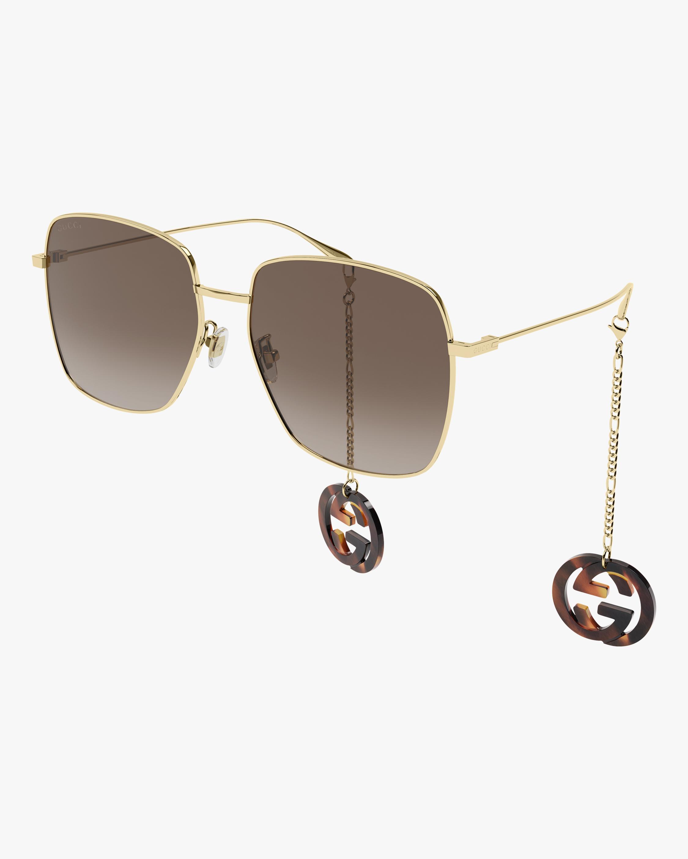 Gucci Gold Square Pendant Sunglasses 0