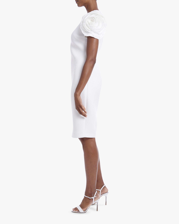 Badgley Mischka Rosette-Sleeve Mini Dress 2