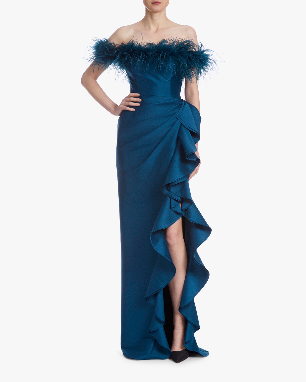 Badgley Mischka Off-Shoulder Feather Gown 1