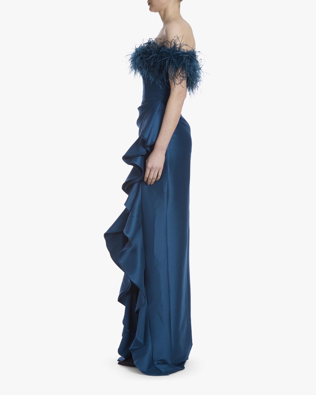 Badgley Mischka Off-Shoulder Feather Gown 2