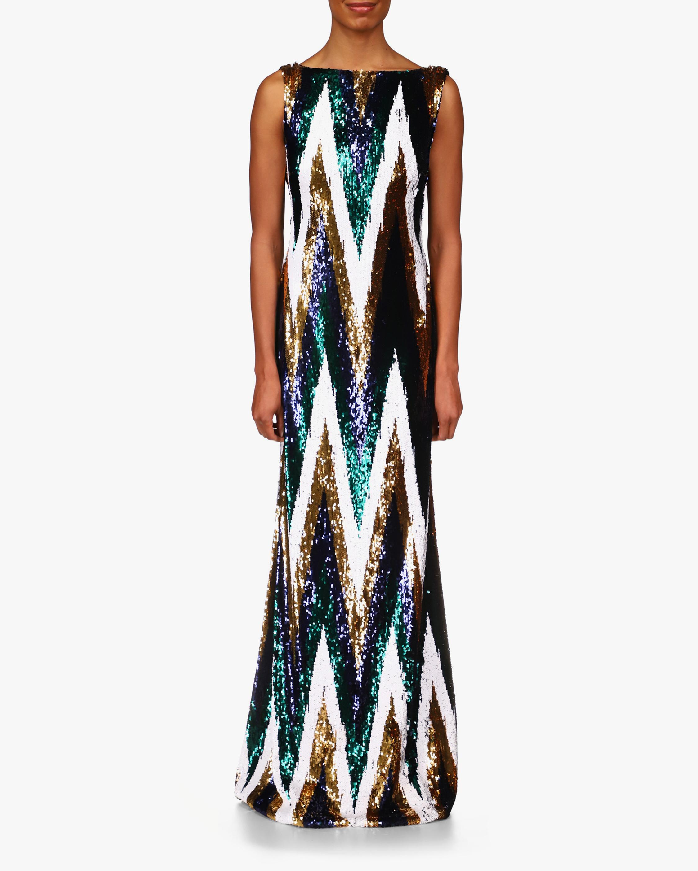 Badgley Mischka Sequin Chevron Gown 0