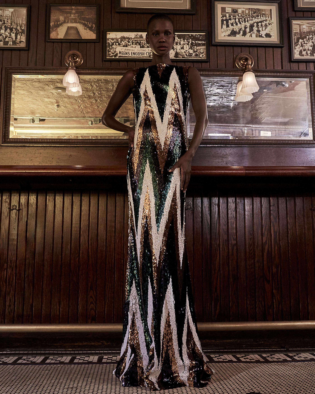 Badgley Mischka Sequin Chevron Gown 1
