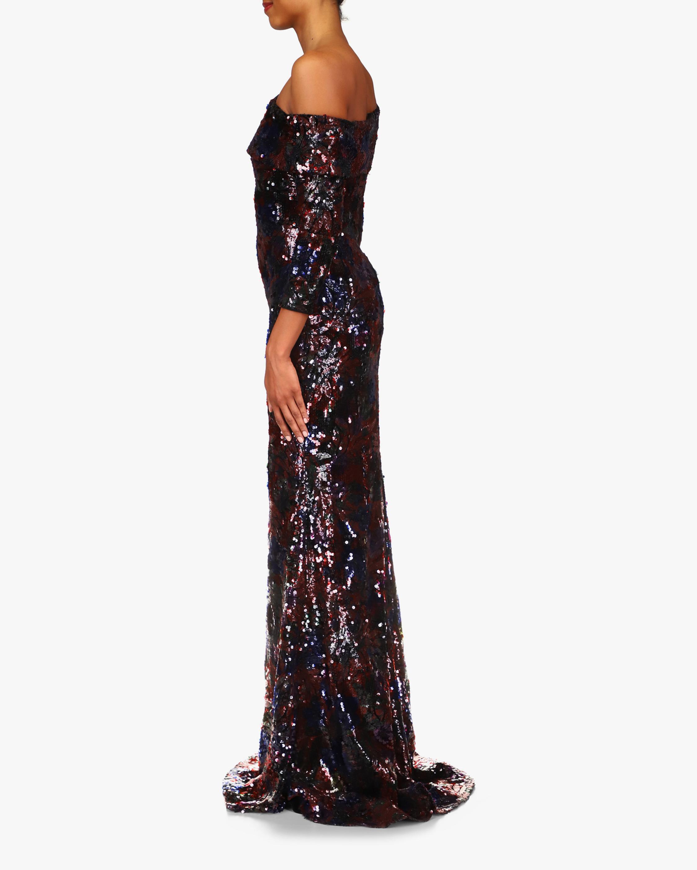 Badgley Mischka Floral Sequin Gown 2