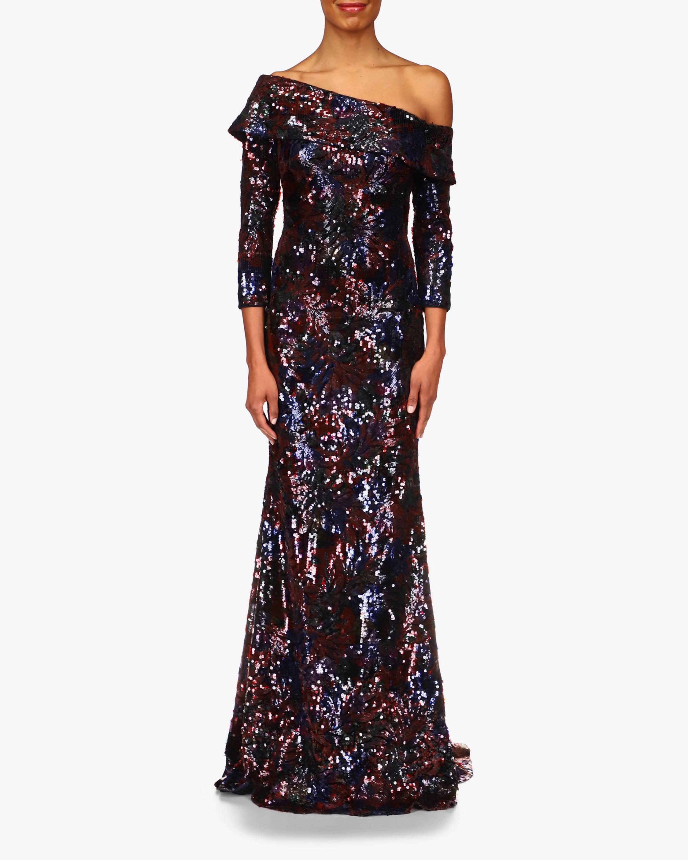 Badgley Mischka Floral Sequin Gown 1