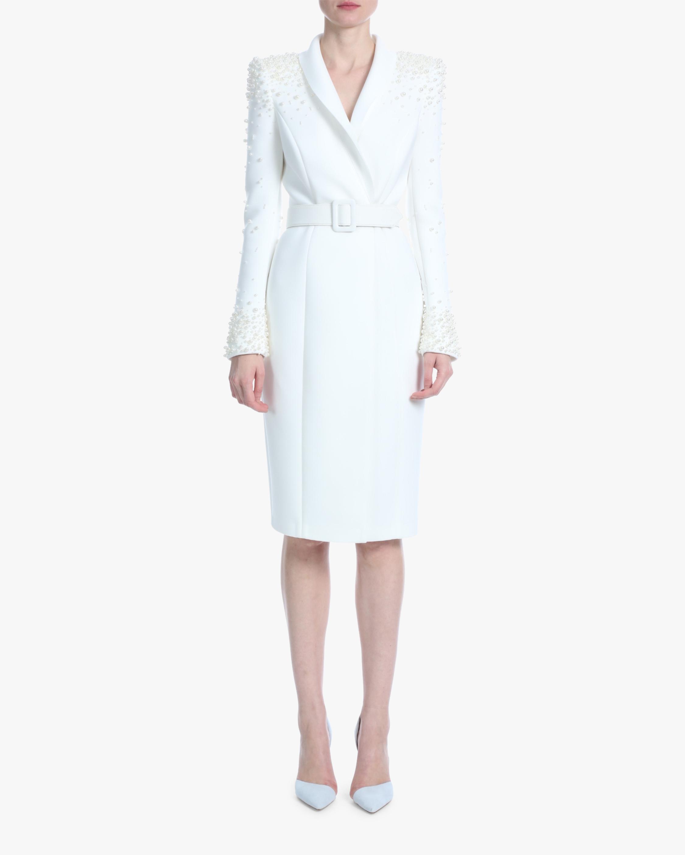 Badgley Mischka Pearl-Embellished Cocktail Dress 1