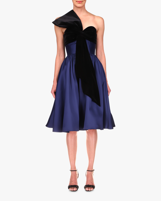 Badgley Mischka Velvet-Bow Cocktail Dress 1