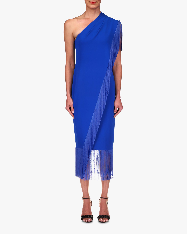 Badgley Mischka Fringe One-Shoulder Dress 1