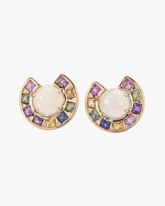 Jolly Bijou Sapphire & Opal Moon Earrings 0