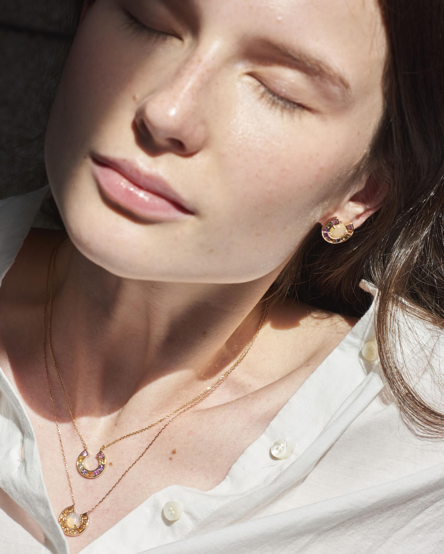 Jolly Bijou Sapphire & Opal Moon Earrings 1