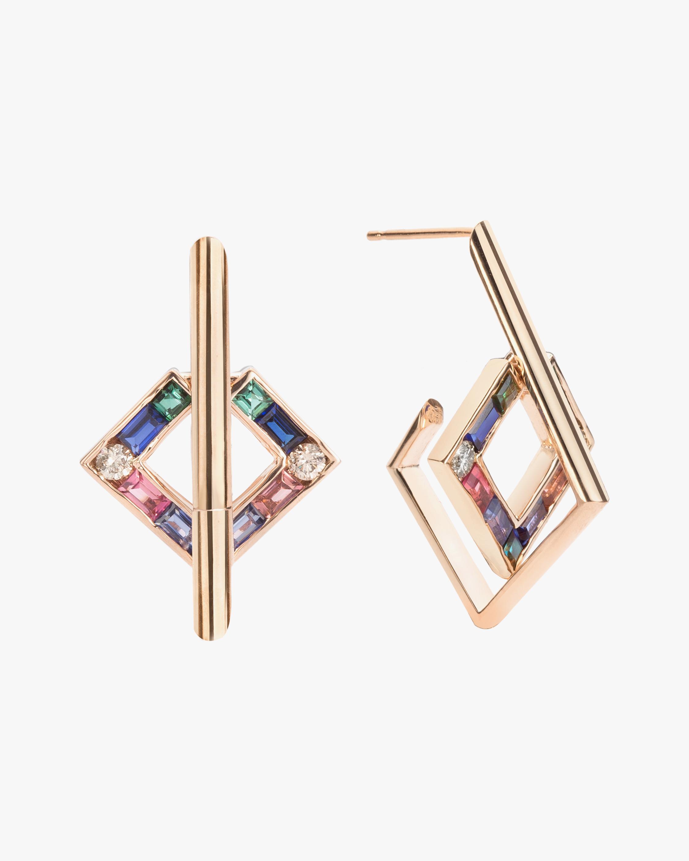 Jolly Bijou Diamond & Gemstone Open-Square Earrings 1