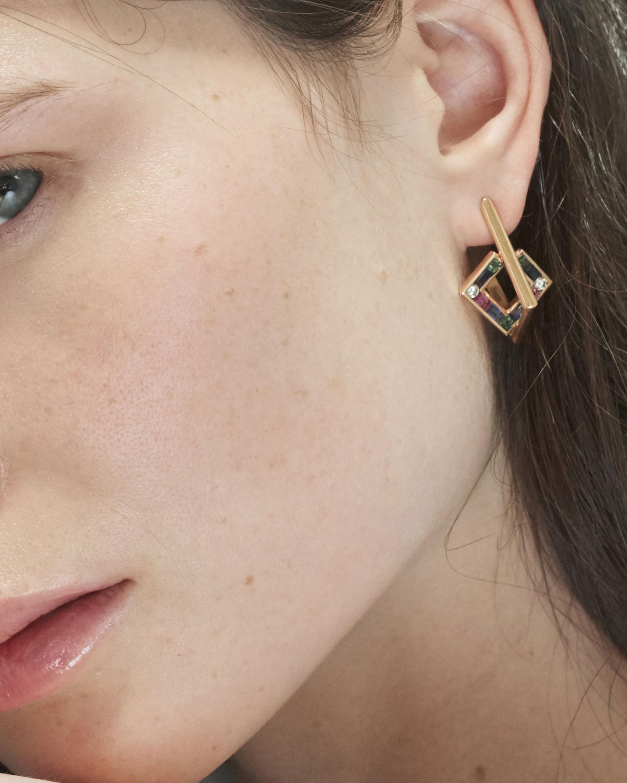 Jolly Bijou Diamond & Gemstone Open-Square Earrings 2