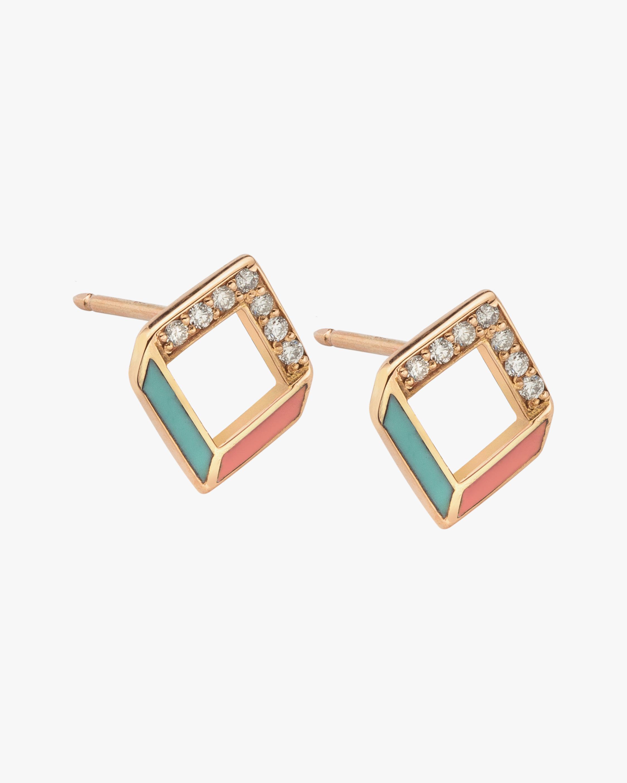 Jolly Bijou Diamond & Multicolor Enamel Chevron Earrings 0
