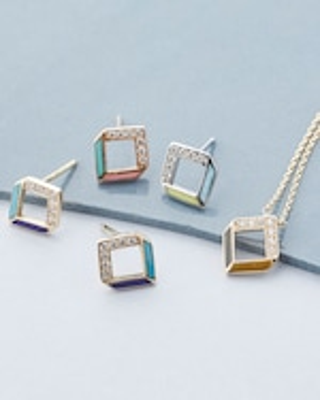 Jolly Bijou Diamond & Multicolor Enamel Chevron Earrings 2