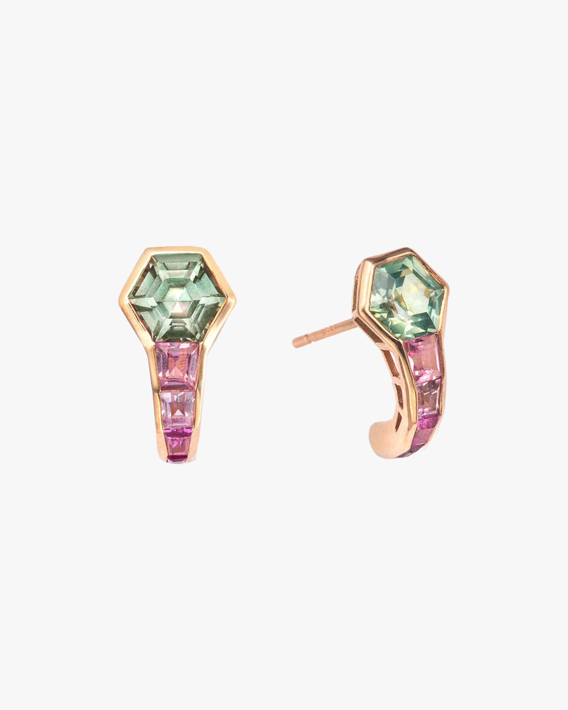 Jolly Bijou Green & Purple Sapphire Pod Earrings 1