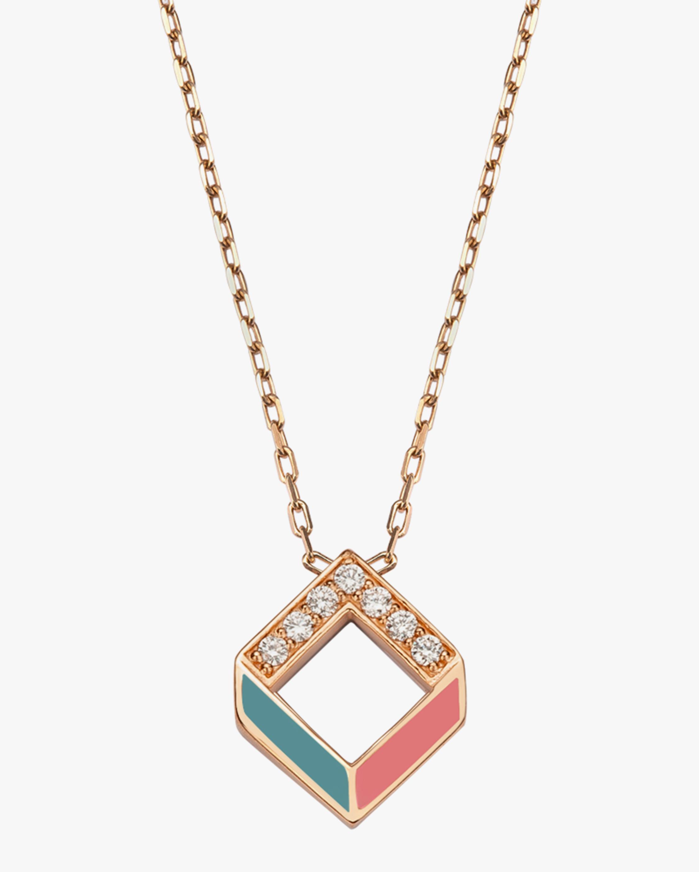 Jolly Bijou Diamond & Multicolor Enamel Chevron Pendant Necklace 0