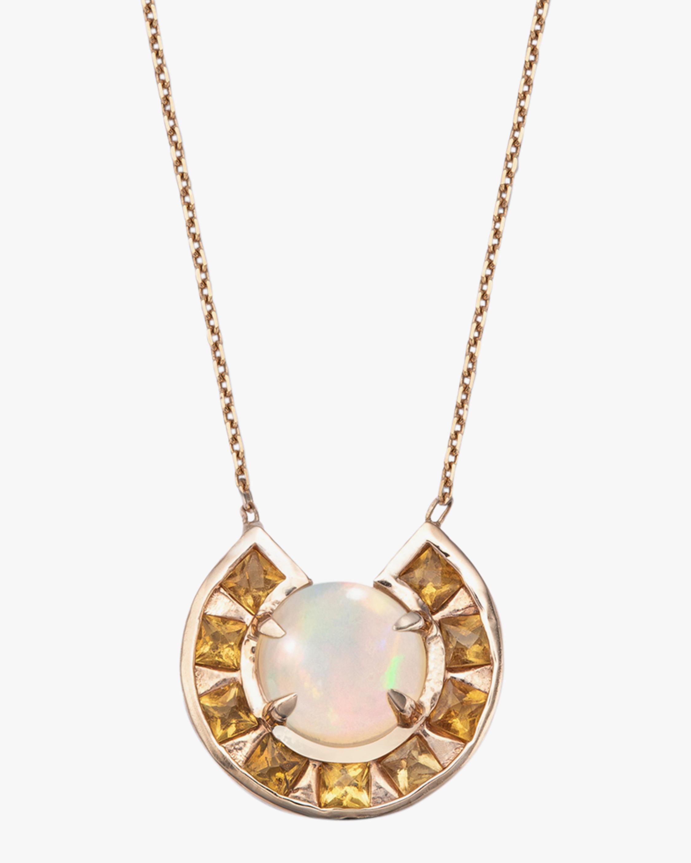 Jolly Bijou Citrine & Opal Moon Pendant Necklace 1