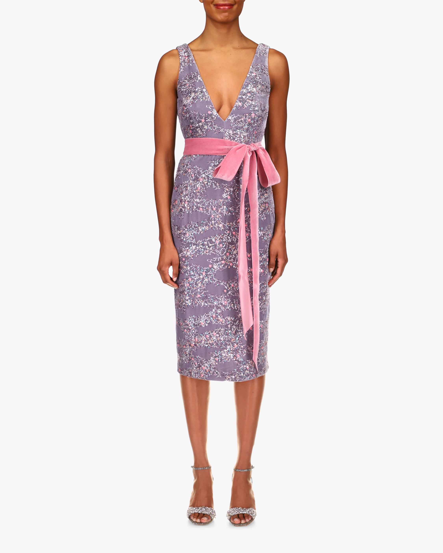 Badgley Mischka Velvet & Sequin V-Neck Cocktail Dress 1