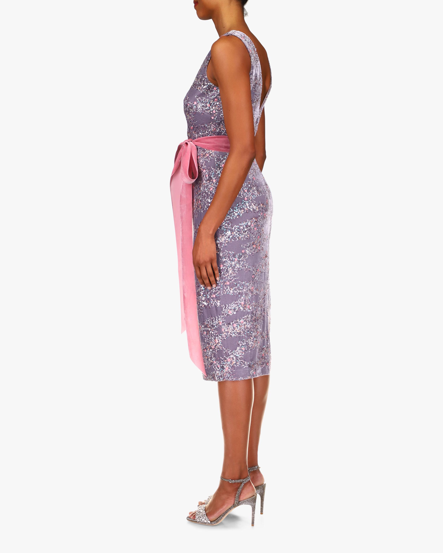 Badgley Mischka Velvet & Sequin V-Neck Cocktail Dress 2