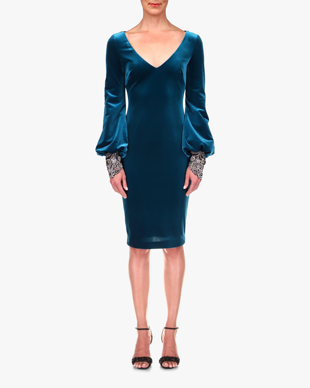 Badgley Mischka Flared-Sleeve Velvet Cocktail Dress 0