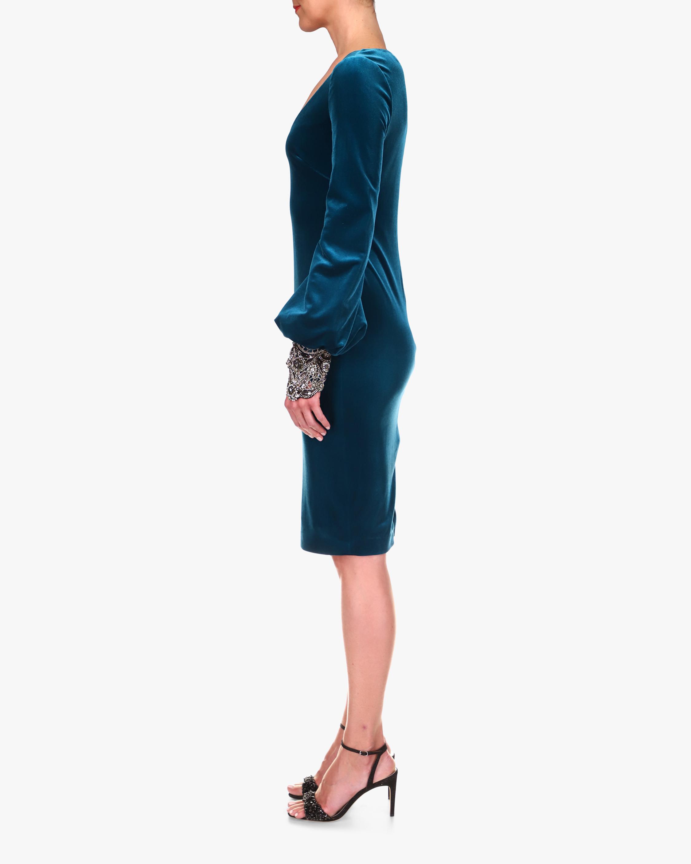 Badgley Mischka Flared-Sleeve Velvet Cocktail Dress 2