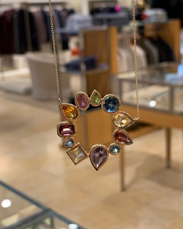 Leslie Paige Gemstone Open Cluster Pendant Necklace 2