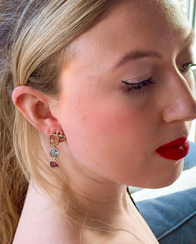 Leslie Paige Gemstone Dangle Bezel Earrings 2