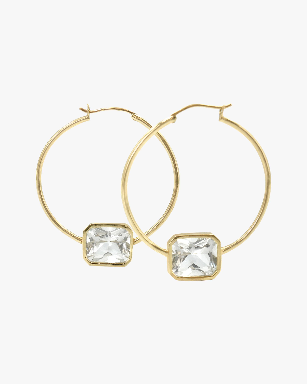 Leslie Paige White Topaz Bezel Hoop Earrings 1
